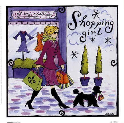 Framed Shopping Girl Print