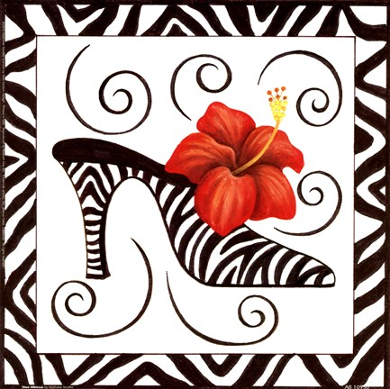 Framed Shoe Hibiscus Print
