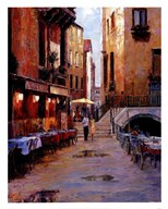 Street Cafe After Rain Venice  Fine Art Print