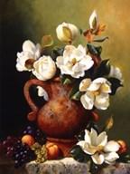 Magnolias In Terra Cotta  Fine Art Print