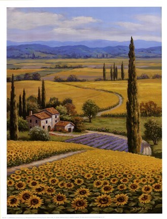Framed Sunflower Field Print