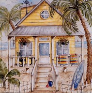 Yellow Beach House Art