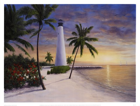 Framed Lighthouse - Key Biscayne Print