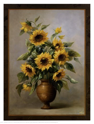 Framed Sunflowers In Bronze I Print