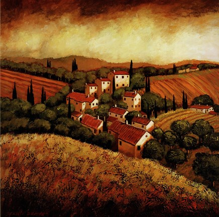 Framed Tuscan Hillside Village Print