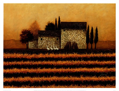 Framed Fall Vineyard Print