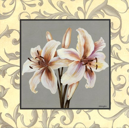 Framed Lillies With Scroll Print