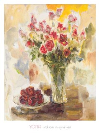 Framed Red Roses In Crystal Vase Print