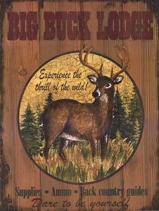 Framed Big Buck Lodge Print