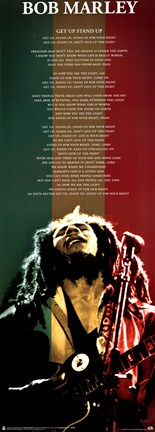 Framed Bob Marley - Get up Stand up lyrics Print