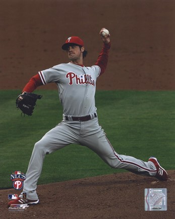 Framed Cole Hamels 2008 Game 5 NLCS Print