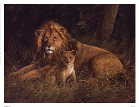 Framed Lion And Cub Print
