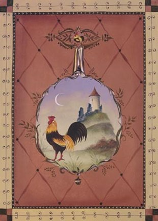 Framed Chateau Rooster II Print