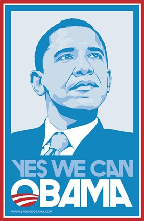 Framed Barack Obama, (Blue, Yes We Can) Campaign Poster Print