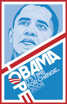Framed Barack Obama - (Hope, Blue) Campaign Poster Print