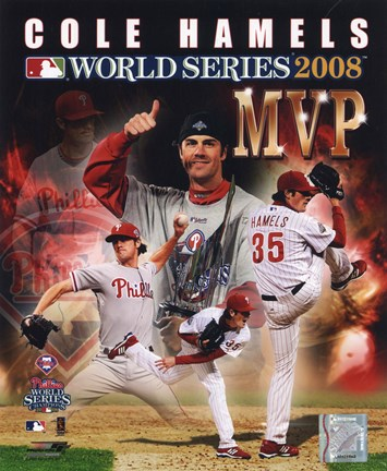 Framed Cole Hamels 2008 World Series MVP Portrait Plus Print