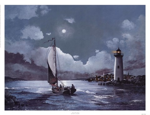Framed Moonlit Sail Print