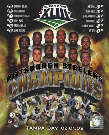 Framed Pittsburgh Steelers 2009 SuperBowl XLIII Champions Composite Print