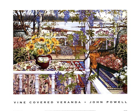 Framed Vine Covered Veranda Print