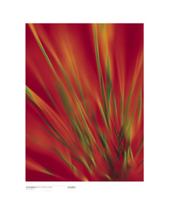 Framed Flexi Grass, Bright Green on Red Print