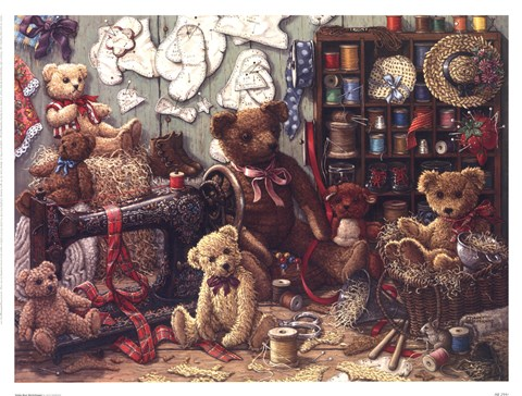 Framed Teddy Bear Workshoppe Print