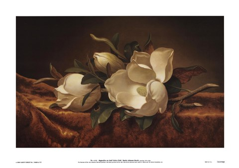 Magnolia On Gold Velvet Cloth