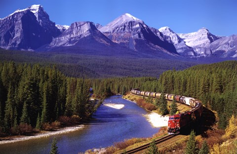 Framed Train In The Rockies Print