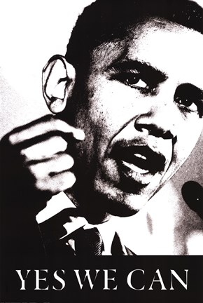 Framed Obama - Yes We Can (black and white) Print