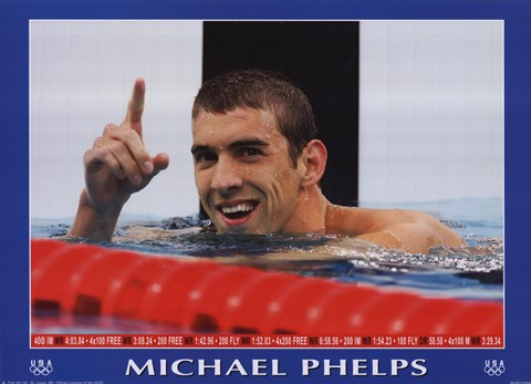 Framed Michael Phelps - Victory Print