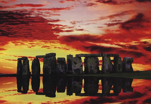 Framed Stone Henge Reflections Print