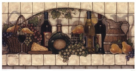 Framed Wine, Fruit, 'N Cheese Pantry Print