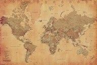 Map of the World, vintage (mercator projection)  Wall Poster