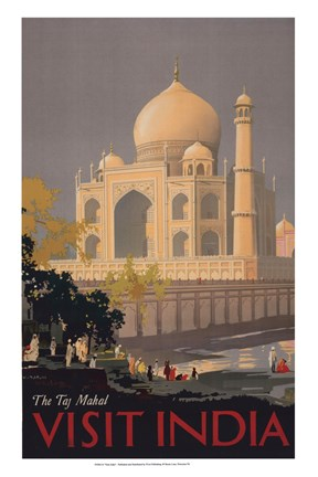 Framed Taj Mahal - Visit India Print