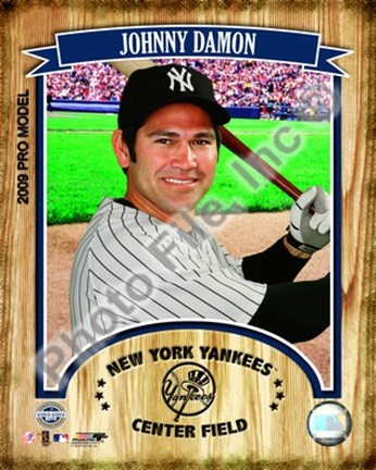 Framed Johnny Damon 2009 Studio Plus Print