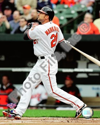 Framed Nick Markakis 2009 Batting Action Print