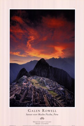 Framed Sunset Over Machu Picchu Print