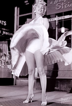 Framed Marilyn Monroe - Skirt Up - Seven Year Itch Print
