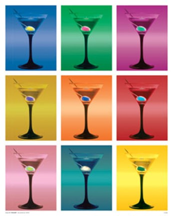 Framed Martini Glasses Print