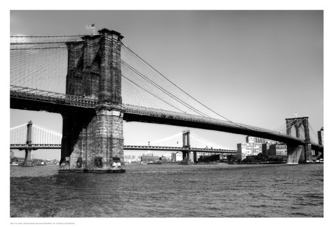 Framed Brooklyn Bridge and Manhattan Bridge, Day Print
