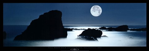 Framed Full Moon Over Laguna Beach, California Print