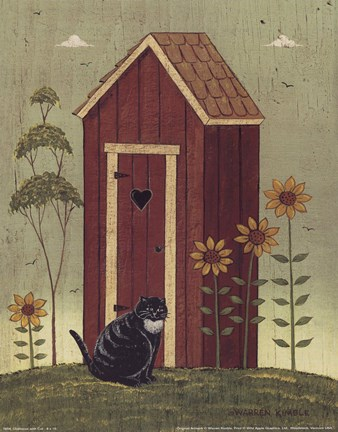 Framed Outhouse with Cat Print