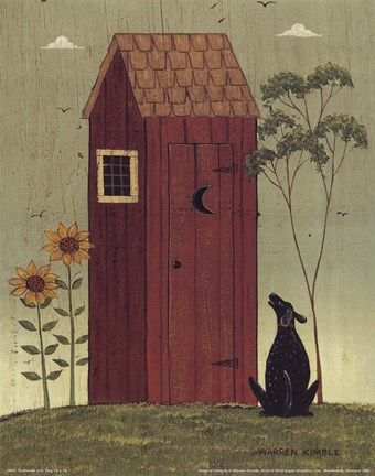 Framed Outhouse with Dog Print