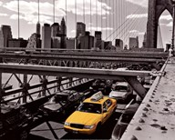 Yellow Cab on Brooklyn Bridge  Fine Art Print