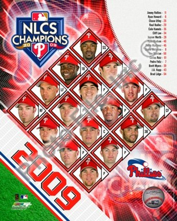 Framed 2009 Philadelphia Phillies National League Champions Team Composite Print