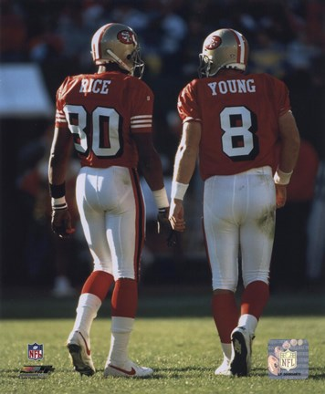 Framed Steve Young / Jerry Rice backs to camera Print