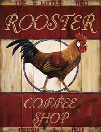 Framed Rooster Coffee Shop Print