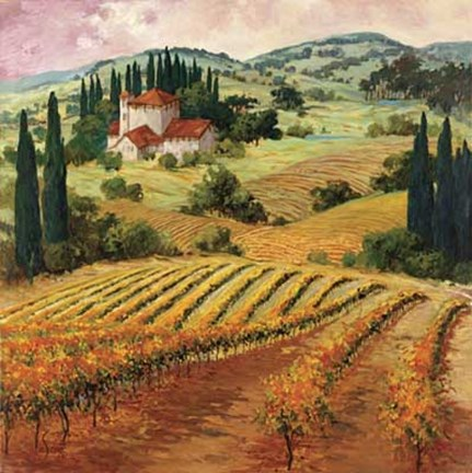 Framed Dawn of a Tuscan Vineyard Print