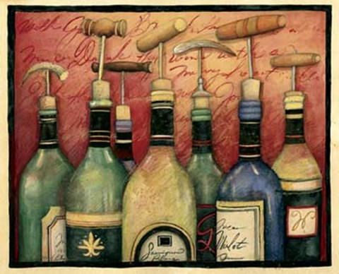 Framed Cork Screws and Wine Print