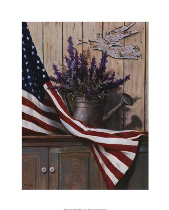 Framed Flag with Purple Flowers Print