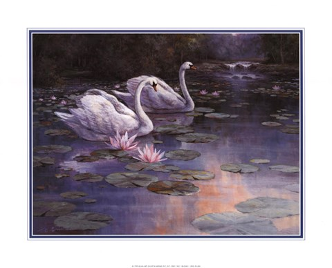 Framed Swans and Waterfall Print